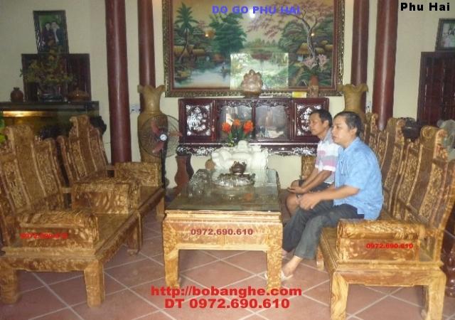 Bộ bàn ghế Âu Á Tay hộp gỗ Nu Nghiến NG.AU02