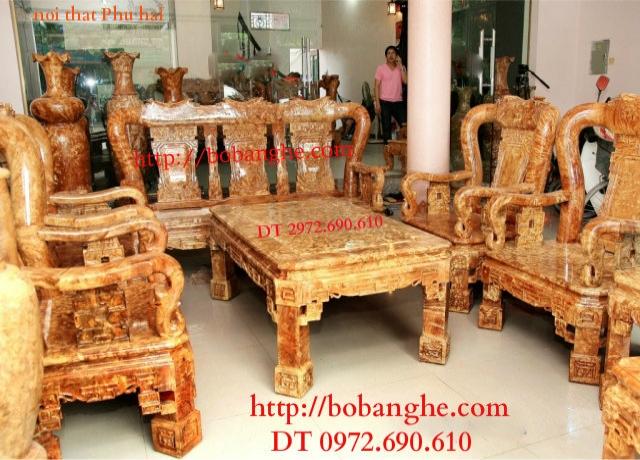 Bộ bàn ghế gỗ ngọc nghiến Quốc triện QTN3
