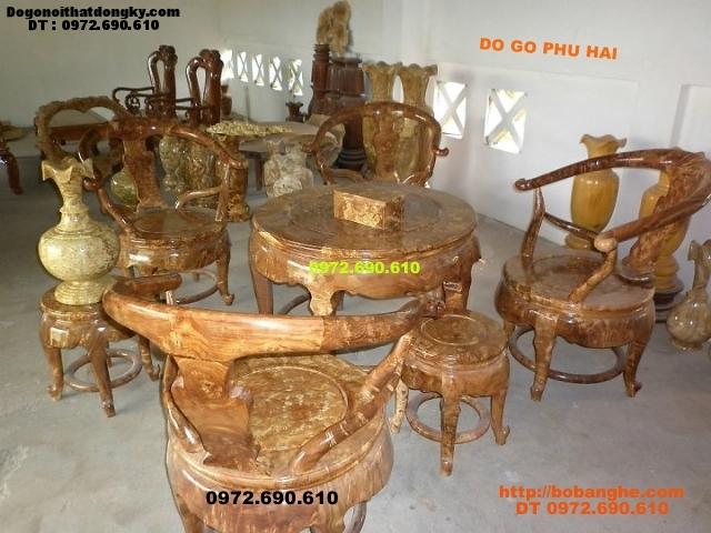 Bộ bàn ghế gỗ nu nghiến Bàn tròn BT02