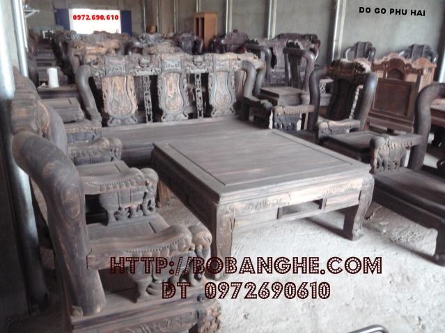 Bộ bàn ghế gỗ mun Minh Quốc voi QV08