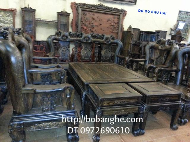 Đồ gỗ Đồng Kỵ Bàn ghế Gỗ Mun Quốc Hồng vai 14 QH01