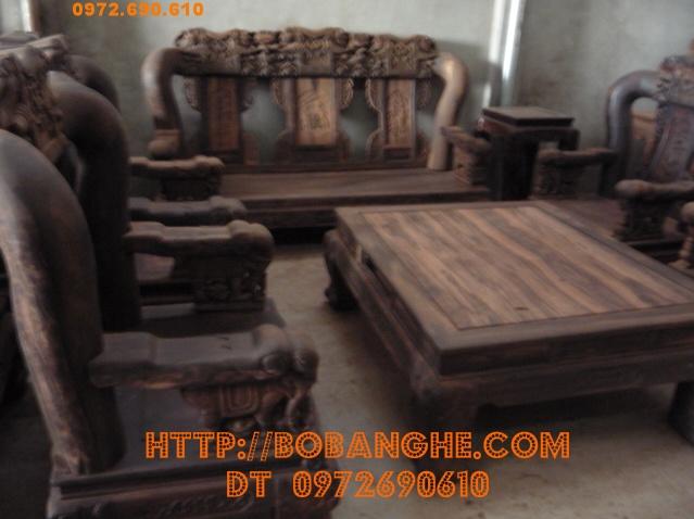 Bộ bàn ghế gỗ mun kiểu Quốc voi vai 16 QV09