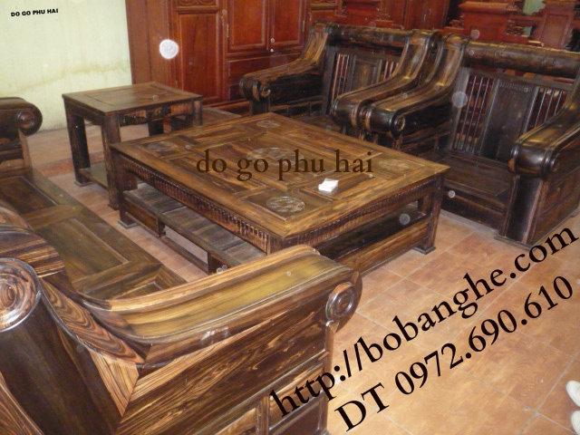 Bộ bàn ghế gỗ mun Kiểu Hộp trống HT01