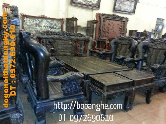 Đồ gỗ nội thất Bộ Phượng Công Gỗ Mun vai 14 PC09