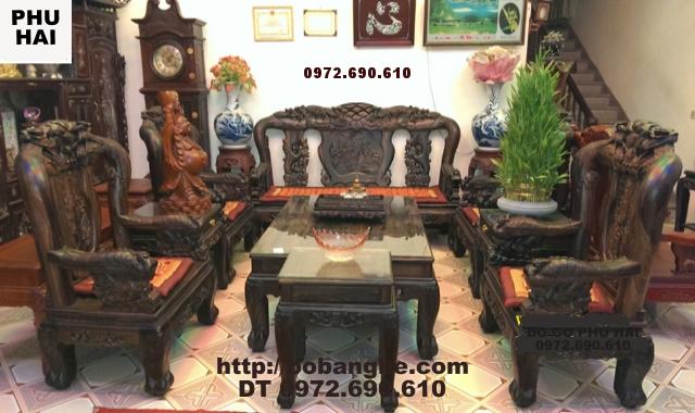 Bộ bàn ghế gỗ mun kiểu mẫu Công Phượng Vai 12 PC16