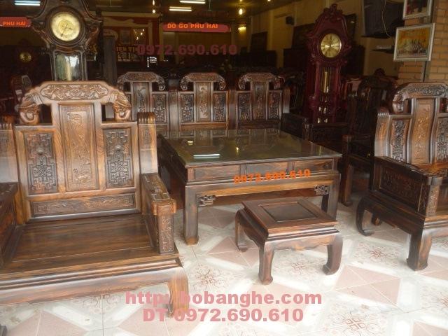 Bàn ghế đồng kỵ Gỗ Mun Kiểu Như ý voi NY03