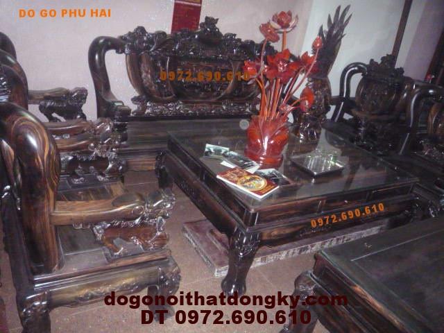 Bàn ghế đồng kỵ gỗ Mun Rồng đỉnh vai 12 RD14