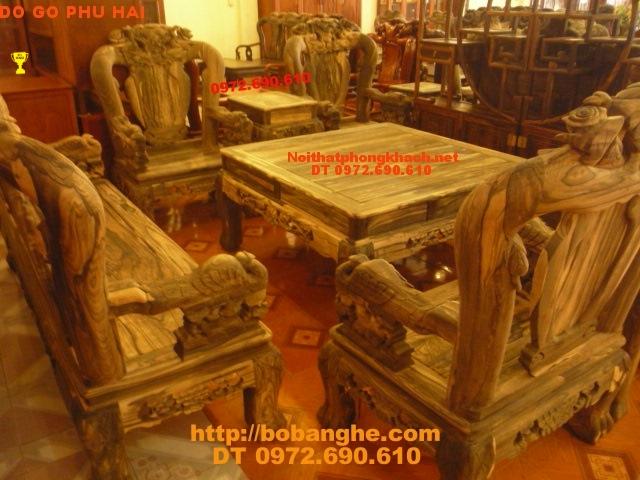 Bàn ghế Đồng Kỵ gỗ mun Kiểu Công Phượng PC17