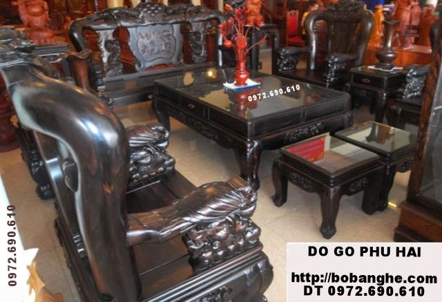 Bàn ghế phòng khách Công phượng gỗ mun PC20