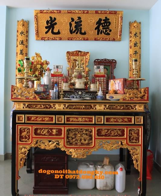 Bàn thờ gia tiên  hoành phi câu đối sơn son thếp vàng BBT6
