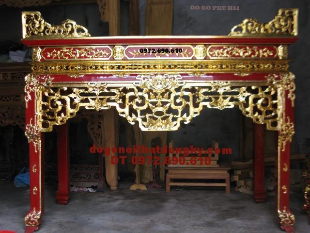 Sập thờ gỗ gụ sơn son thếp vàng ST44