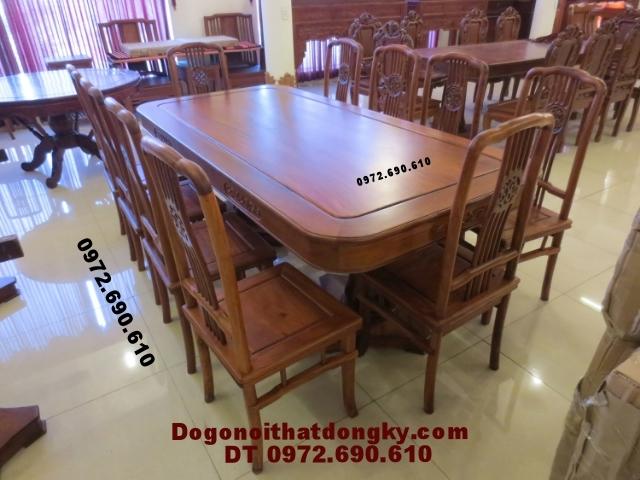 Bộ bàn ăn đẹp Bàn Chữ Nhật gỗ hương BA41