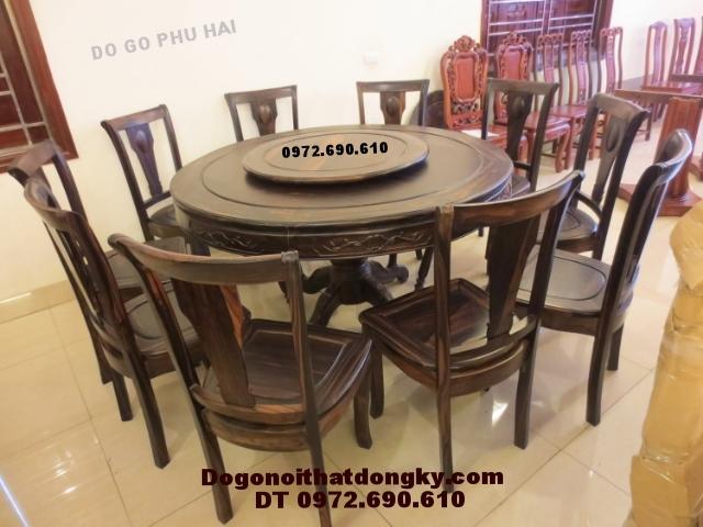 Bộ bàn ăn đẹp gỗ mun kiểu bàn tròn xoay BA47