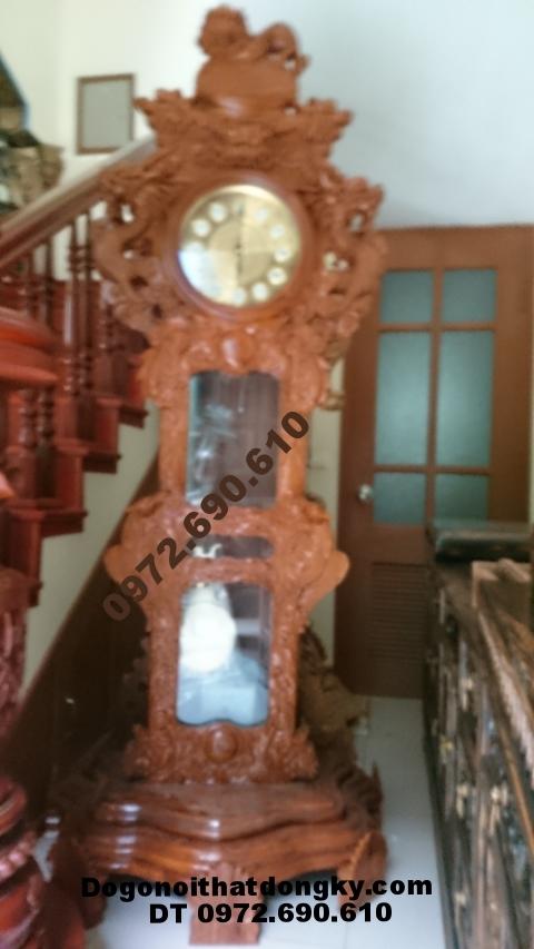 Đồng hồ cây gỗ hương chạm sư tử DH47
