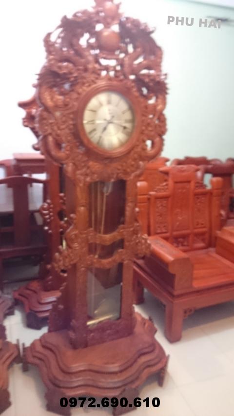 Đồng hồ đứng kiểu cửu rồng gỗ hương DH51