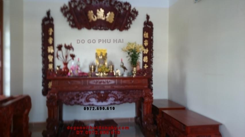 Bộ Bàn thờ đẹp Hoành phi câu đối gỗ gụ ST56