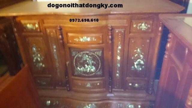 Tủ thờ khảm ốc khảm cảnh gỗ gụ TT35
