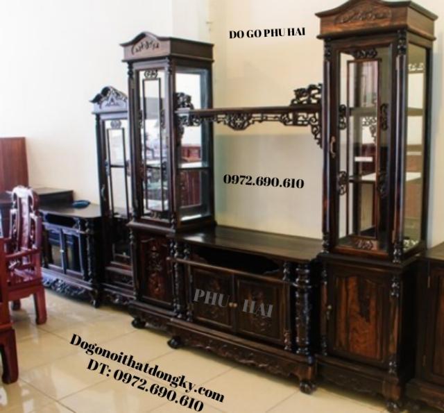 Tủ bày đồ - Tủ để Tivi Gỗ mun đẹp KTV36