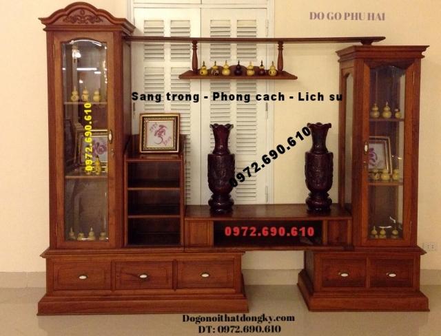 Tủ bày đồ - Tủ để Tivi Gỗ hương đẹp KTV38