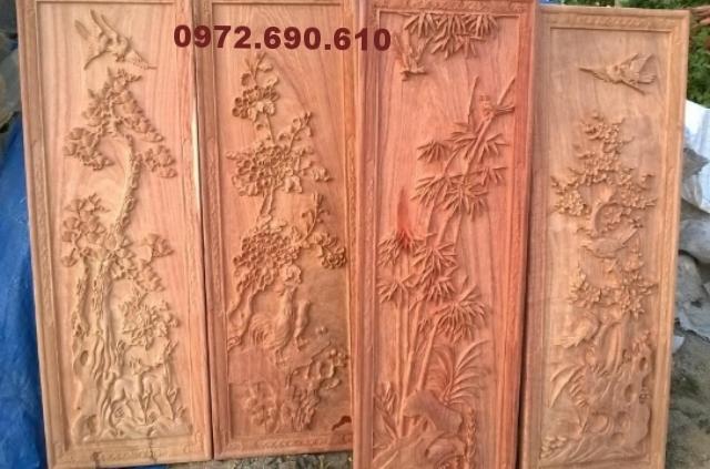 Tranh gỗ chạm tứ quí Xuân hạ thu đông T10