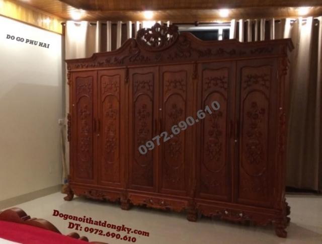 Tủ quần áo gỗ hương 6 Cánh đồ gỗ Phú Hải TA5