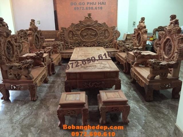 Bộ bàn ghế phòng khách đẹp, Bộ Rồng Bảo Đỉnh B160