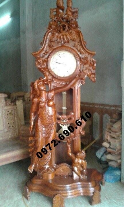 đồng hồ quả lắc gỗ gụ, đồng hồ kiểu thiên thần DH62