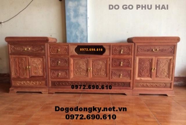 Mẫu Tủ kệ tivi đẹp do đồ gỗ Phú Hải sản xuất KTV62