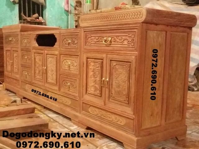 Kệ để tivi gỗ đồng kỵ,Kệ ti vi gỗ hương KTV63