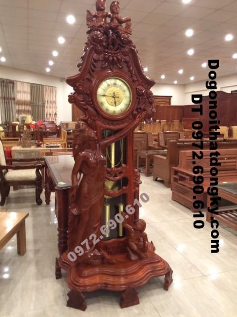 Tặng quà tân gia Đồng hồ cây gỗ hương kiểu thiên thần DH...