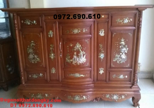 Tủ thờ gỗ gụ mật khảm ốc dogodongky.net.vn TT39