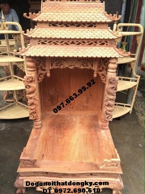 Bàn thờ thần tài đẹp gỗ hương ba mái BTT15