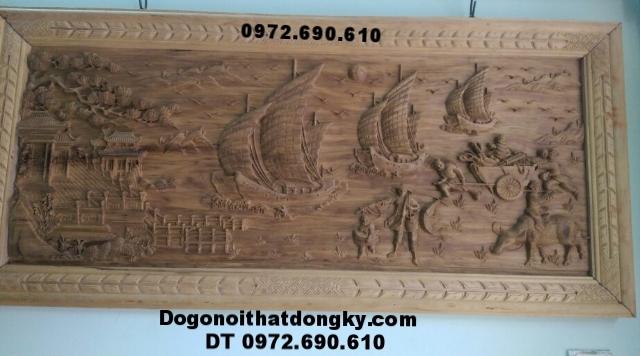 Tranh thuận buồm xuôi gió, Tranh gỗ chạm khắc T13