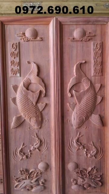 Tranh điêu khắc gỗ Song ngư vọng nguyệt T14