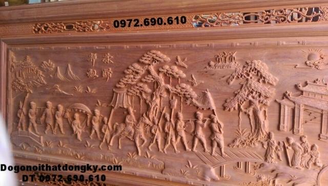 Tranh chạm khắc gỗ, tranh gỗ mỹ nghệ Vinh qui bái tổ T17