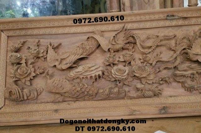 Tranh điêu khắc gỗ phong thủy mẫu Tứ linh T18