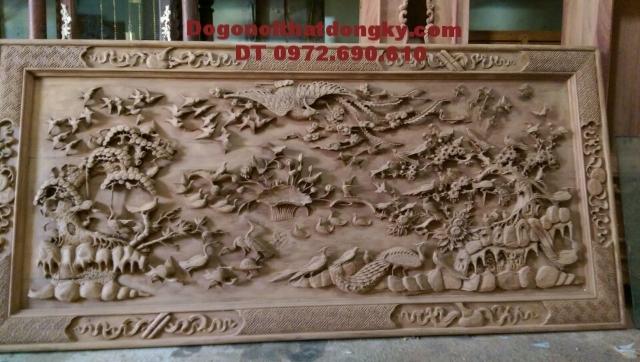 Tranh bách điểu, Tranh mỹ nghệ treo tường khắc gỗ T19