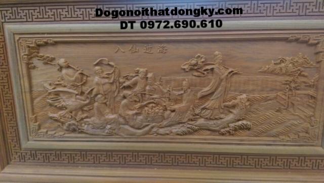 Tranh điêu khắc gỗ mỹ nghệ Bát tiên quá hải T21