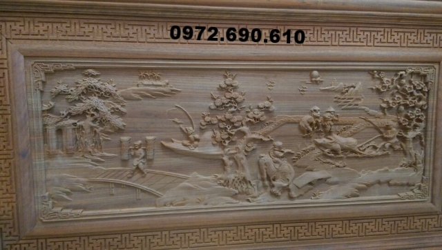 Tranh treo tường gỗ mỹ nghệ, Tranh Đồng quê T30