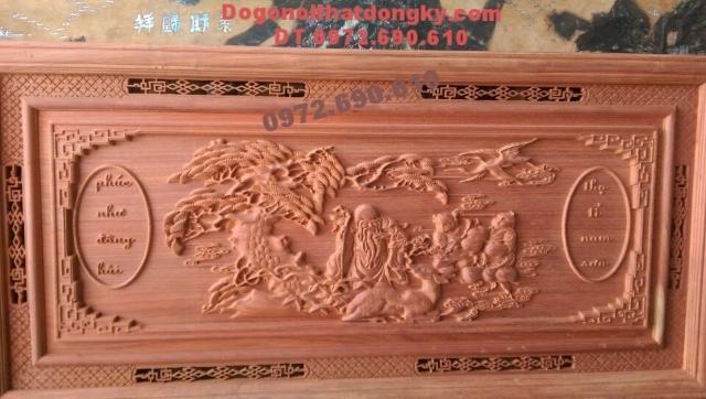 Tranh phong thủy điêu khắc gỗ Phúc như đông hải T31