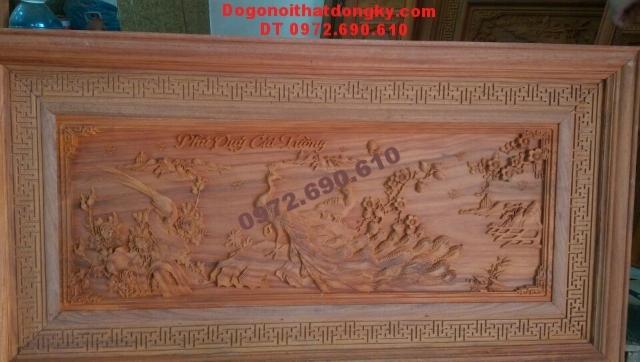 Tranh chạm khắc gỗ phong thủy Phú quí cát tường T32