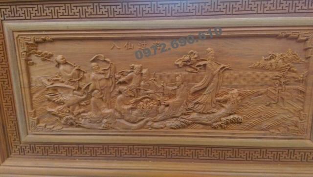 Tranh điêu khắc gỗ Bát tiên quá hải T33