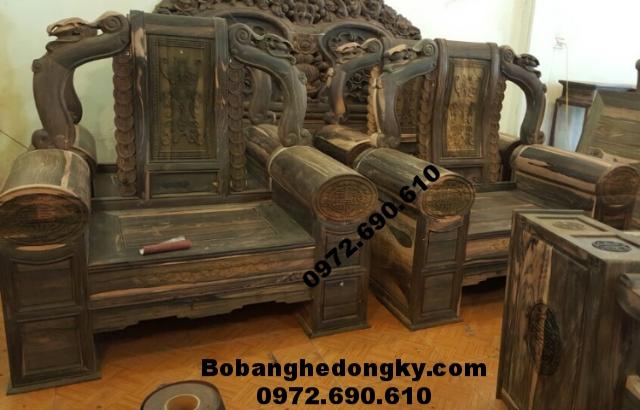 Đồ gỗ mỹ nghệ, Bộ bàn ghế gỗ mun hoa đẹp và hiếm B189