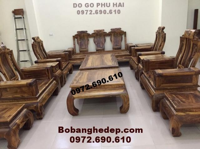 Bộ bàn ghế phòng khách gỗ mun sọc mẫu mới B190