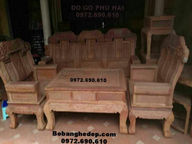 Bàn ghế gỗ phòng khách đẹp kiểu Âu á mẫu mới B191