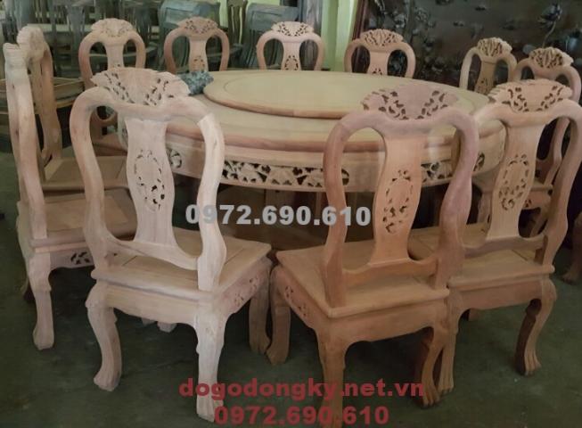 Bộ bàn ăn đẹp gỗ gụ 10 ghế kiểu bàn tròn xoay BA90
