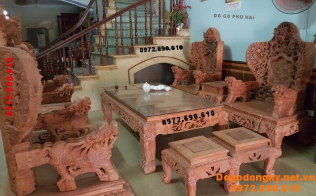 Bàn ghế Đồng Kỵ đẹp gỗ hương kiểu Bát mã B194