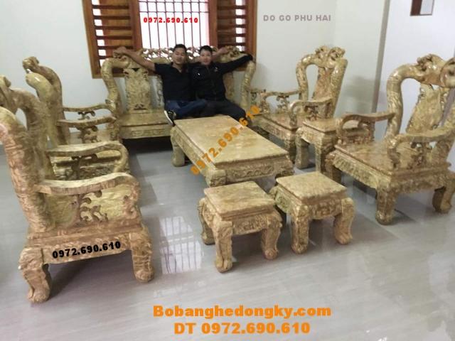 Bàn ghế gỗ nu nghiến đẹp Do go Phu Hai sản xuất B197