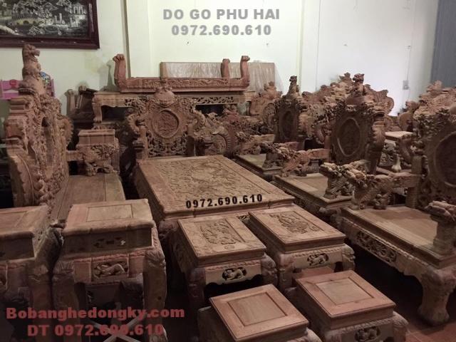 Bộ bàn ghế gỗ hương Lào Kiểu Rồng Bảo Đỉnh B200