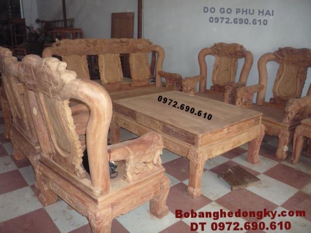 Bàn ghế gỗ hương đá đẹp Kiểu Quốc voi V12 B202